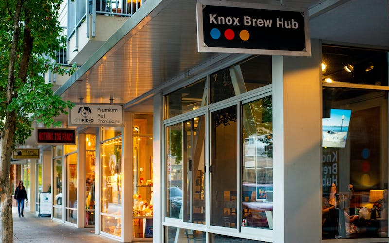 The welcoming entryway of Knox Brew Hub in downtown Knoxville
