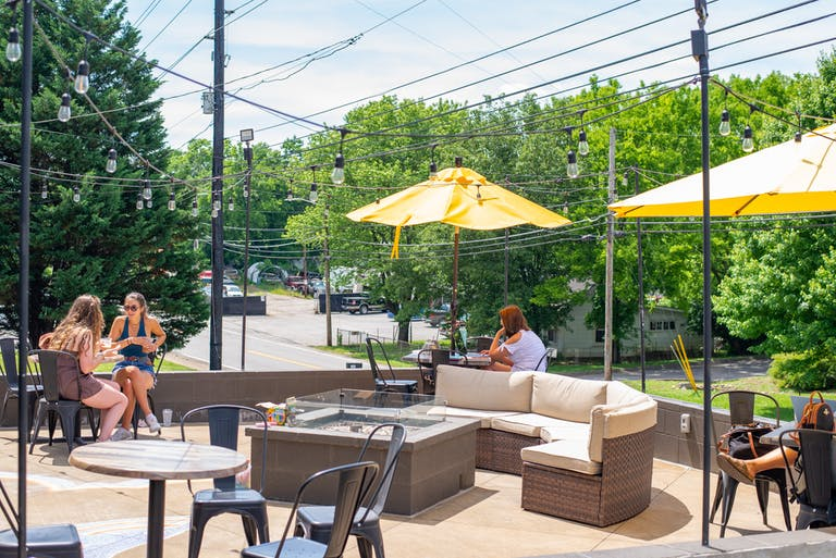 Sunshine hits the patio of Golden Roast Coffee Roasters in Knoxville Tennessee