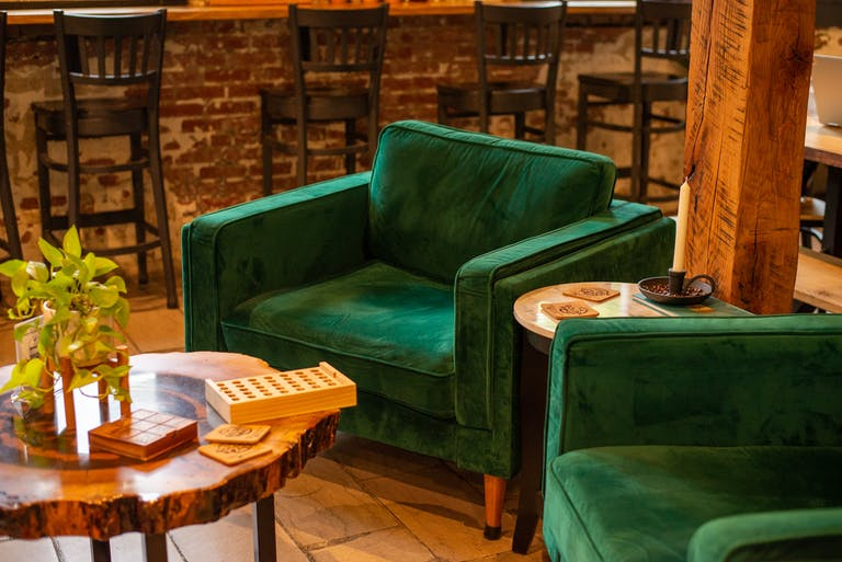 Green Velvet Chairs at Golden Roast Coffee in Knoxville